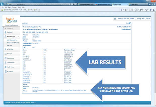 How to view lab results